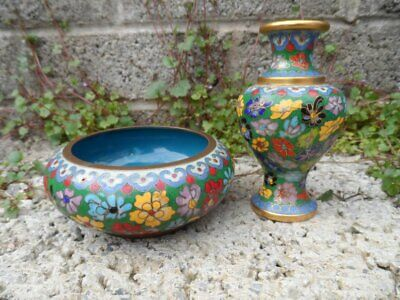 Antique Chinese cloisonné - 2 pieces of 20th century Chinese art - vintage decor