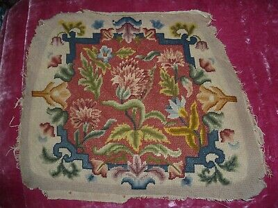 vintage / antique Tapestry / embroidered needlepoint old chair cover