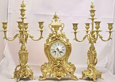 Antique Mantle Clock French Superb Rococo Gilt Pierced Bronze Garniture Set