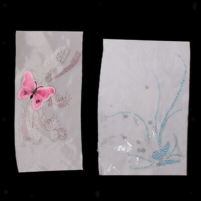 2pcs Crystal Rhinestones Iron-on Hot Fix Patch Butterfly Pattern Appliques