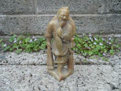 Antique Chinese carved soapstone figure - Asian Oriental fisherman