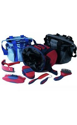 Rhinegold Grooming Kit And Bag! Soft Touch Brushes Red/navy