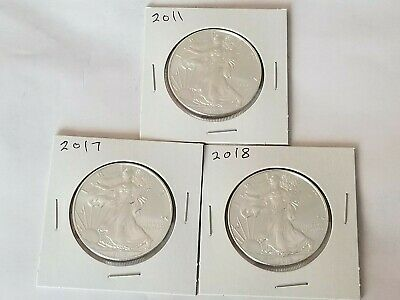 "Lot Of 3 Coins 2011, 2017, & 2018 Bu American Silver  Eagles ""no Reserve"""