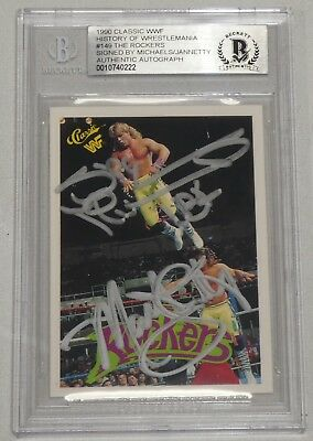 Shawn Michaels Marty Jannetty Autografato 1990 Classico Wwf Cartoline #149 Bas