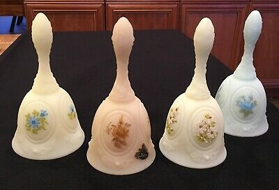 Fenton Bells Medallion Custard Satin Hand Painted Signed Frosted ~ Lot Of 4