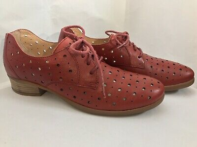80dcf9c8ba Women's Born Dallyce Perforated Lace Up Red Leather Shoes Oxford 11 US EUC