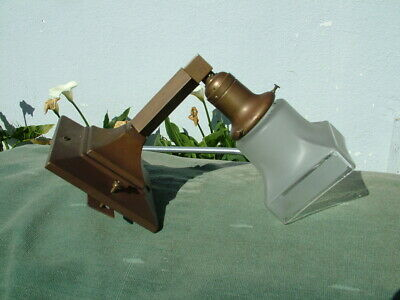 Vintage Mission Arts & Crafts Brass Lighting Sconce With Shade