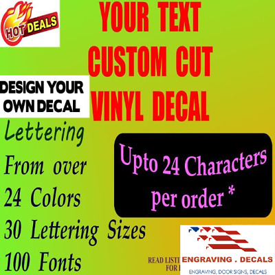 VINYL LETTERING DECAL Stickers Personalized ➠ YOUR TEXT is CUSTOM DIE-CUT by us