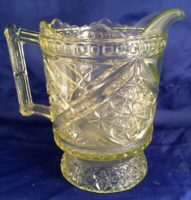 EAPG Richards & Hartley Vaseline Daisy & Button with Crossbars Pitcher