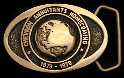 Pi04119 Great 1979 **Chevron** Annuitants Homecoming Solid Brass Oilfield Buckle