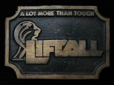 QK01102 VINTAGE 1970s **LIFTALL A LOT MORE THAN TOUGH** SOLID BRASS BELT BUCKLE