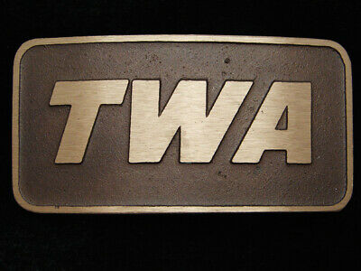 QC15154 *NOS* VINTAGE 1970s **TWA** AIRLINE COMPANY SOLID BRASS BELT BUCKLE