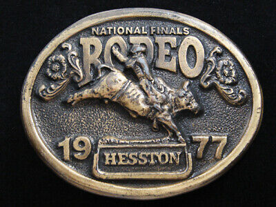Rf11119 Used Nfr **1977 National Finals Rodeo*** Hesston Collector Belt Buckle