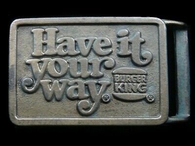 RK09123 VINTAGE 1970s **BURGER KING HAVE IT YOUR WAY** ADVERTISEMENT BELT BUCKLE