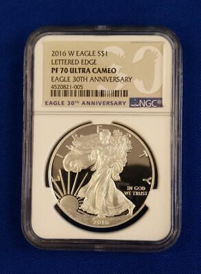 2016-W US 1oz Proof Silver Eagle $1 NGC PF70 Ultra Cameo... L.E. 30th Anniv. L41
