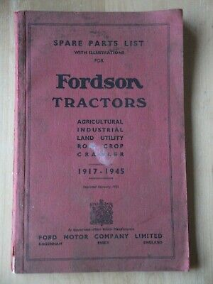 1951 Fordson Tractors Spare Parts List With Illustrations 1917 - 1945 Ford