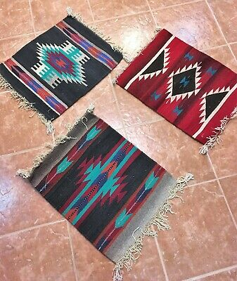 Lot 3 Zapotec Oaxaca Mexican Rug Tapestry Wall Hanging 100% Wool Hand made 15x20