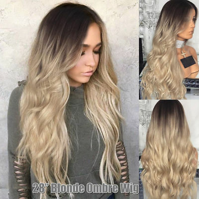 """28"""" Womens Ladies Blonde Ombre Long Curly Hair Wigs Natural Wavy Cosplay Wig UK"""