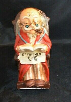 Vintage Ceramic Old Man In Rocking Chair Retirement Fund Reading Paper Coin Bank