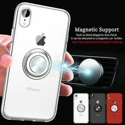 For iPhone XS Max XR 8 7 6s Plus Case Magnetic TPU Slim Ring Holder Stand Cover