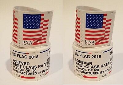 200 USPS FOREVER STAMPS - 2x 100 stamp coils - FREE SHIPPING!