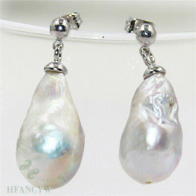 14-16mm White Baroque Pearl Earrings Silver Hook Natural Mesmerizing Classic