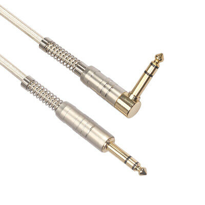 Gold-plated 6.35mm Straight to L-type Male Audio Cable for Electronic Guitar