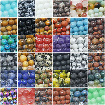 DIY Natural Gemstone Round Spacer Beads Jewelry Making 4MM 6MM 8MM10MM Wholesale