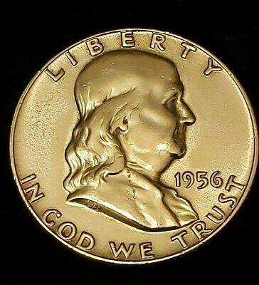 1956 FRANKLIN 90% SILVER HALF DOLLAR Type 2 . UNCIRCULATED Free S/H in Holder