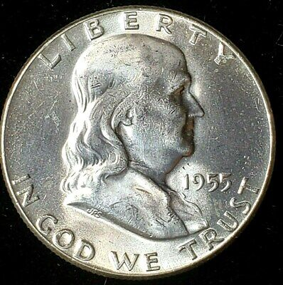 1955 P Mint 90% Silver Franklin Half-Dollar Exact Coin Picture Free Shipping