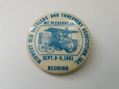 1961 Midwest Old Settlers and Threshers Association Reunion Pinback Button