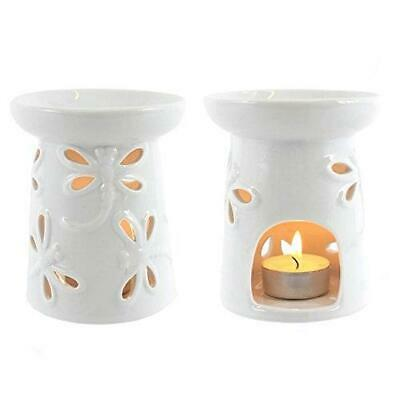 Jones Home and Gift Dragonfly Oil Burner-White Glazed, Ceramic Multi-Colour,...