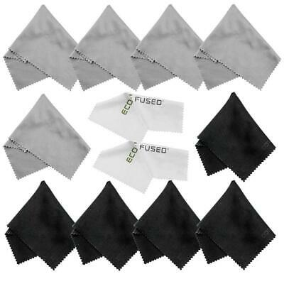 Microfiber Cleaning Cloths - 10 Colorful and 2 White ECO-FUSED - Ideal for...