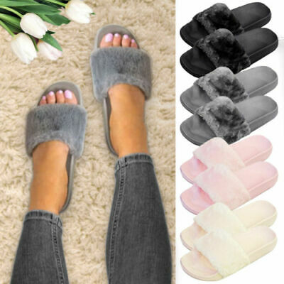 Women Slippers Slip On Slider Fluffy Fur Flat Sandals Ladies Mules Summer Shoes
