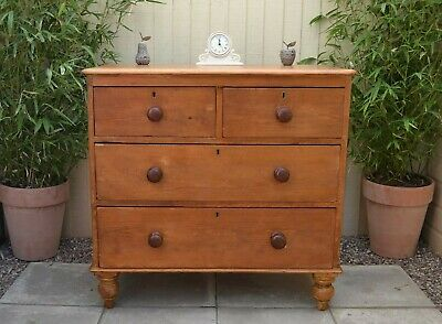 Gorgeous Antique Pine Chest of Drawers Victorian Farmhouse Rustic Chest Stripped