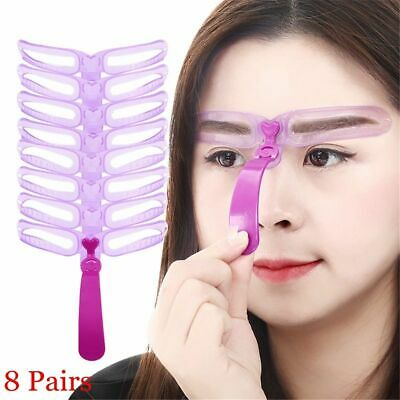 Women Makeup Tool Shaping Shaper Template Set Eyebrow Grooming Stencil Kit 8Pcs