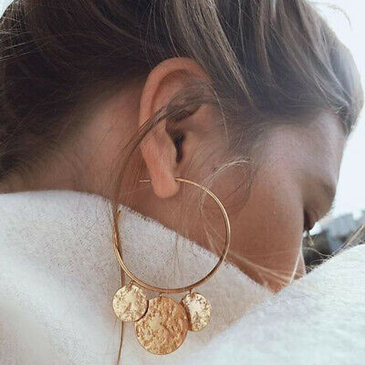 Women Gold Silver 3 Matte Coin Geometric Statement Drop Earrings Hoop Jewelry