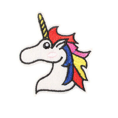 """Colorful Unicorn Head Embroidered Iron ON Patch for Girl Clothes DIY 2x2.3"""""""