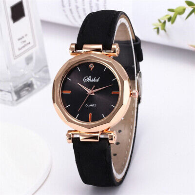 Women Lady Girl Classic Quartz Wrist Watch Frosted PU Leather Band Casual Watch