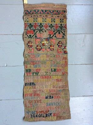 """Antique English Embroidery Sampler (Poss 1600's) Approx 24"""" X 9"""""""