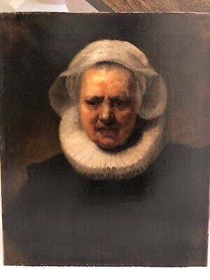 After Rembrandt - 19th Century Antique Portrait Oil Painting of Woman Lady 19b