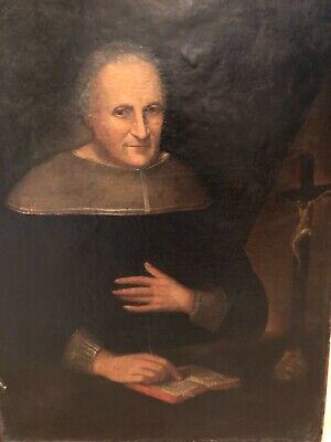 19th Century or Earlier - Antique Spanish Christian Portrait Oil Painting Man