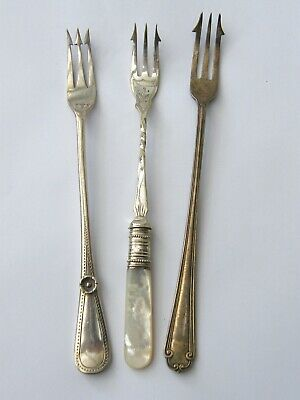 Antique-x3 Long Stem Silver Plated Flanged Triple Prong Pickle Forks