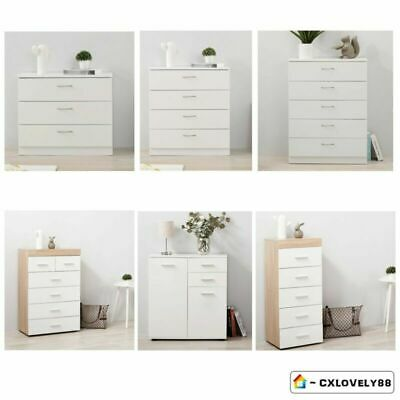 2/3/4/5/6 Chest Of Drawers Bedside Cabinet Table | White Bedroom Storage Unit UK
