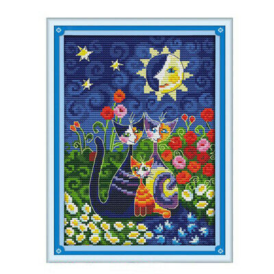 Coloful Cat Stamped Cross Stitch Kit Embroidery Package for Beginner 25x33cm