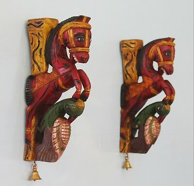 12 inh/30cm Wooden painted wall Bracket Temple Corbel Pair Horse & Peacock head
