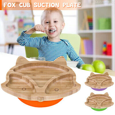 Baby Toddler Animal Cub Suction Plate Natural Bamboo Stay Put Cute Feeding Plate