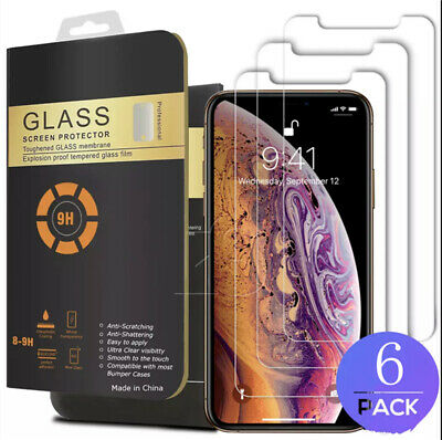 (6-Pack) Premium Tempered GLASS Screen Protector For iPhone X / XS / XR / XS Max