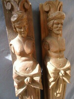 Two 19Th Century Oak Carved Terms Furniture Mounts
