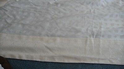 """#630 vtg  White on White fabric  Tablecloth 70"""" x 112""""  wide borders"""